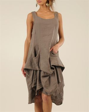 100% Lin Rebecca Asymmetrical Hem Solid Color Dress Made In Italy