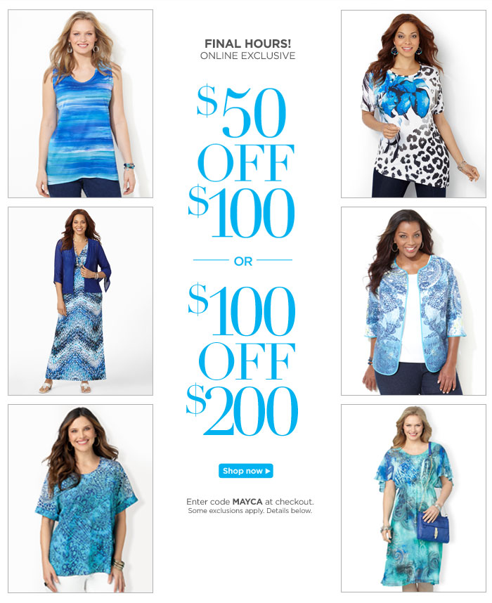Final Hours! $50 Off $100 and $100 Off $200! Shop Now
