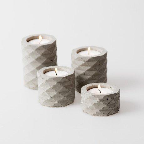 Concrete Copy Candle Holder Set // 4 Pieces