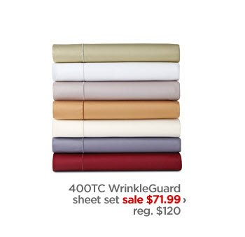 400 TC WrinkleGuard sheet set sale $71.99 › reg. $120