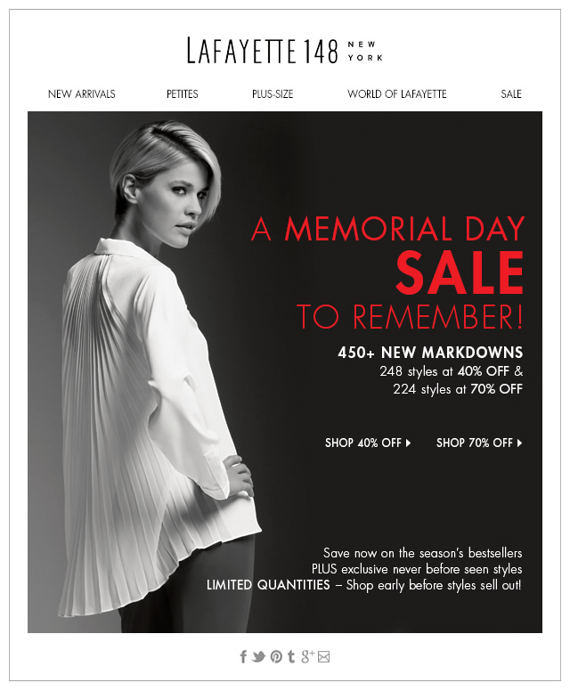 A Memorial Day Sale to Remember!