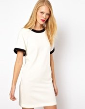 ASOS Shift Dress With Bell Sleeves And Contrasting Panels