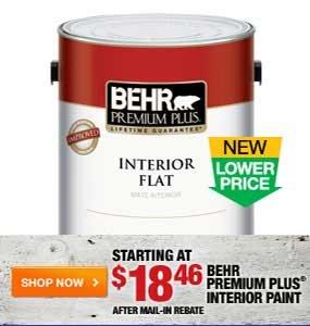 Starting at $18.46 Behr Premium Plus Interior Paint