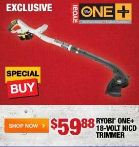 $59.88 Ryobi One+ 18 Volt NICD Trimmer