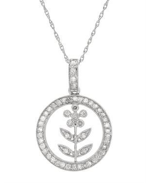 Ladies Necklace Designed In 14K White Gold