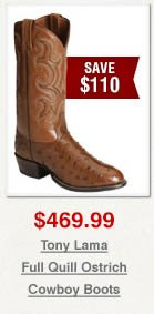 Tony Lama Full Quill Ostrich Cowboy Boots on Sale