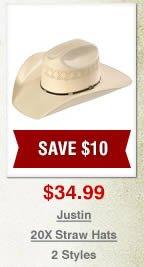 Justin 20X Straw Hats on Sale