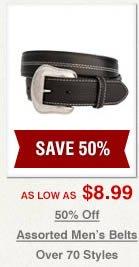 Half off Assorted Mens Belts on Sale