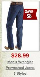 Men's Wrangler Prewashed Jeans on Sale