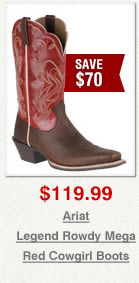 Ariat Legend Rowdy Mega Red Cowgirl Boots on Sale