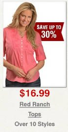 Red Ranch Tops on Sale