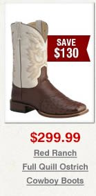 Red Ranch Full Quill Ostrich Cowboy Boots on Sale