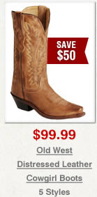 Old West Distressed Leather Cowgirl Boots on Sale