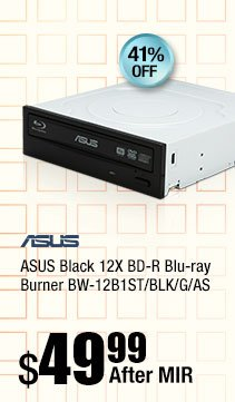 ASUS Black 12X BD-R Blu-ray Burner BW-12B1ST/BLK/G/AS