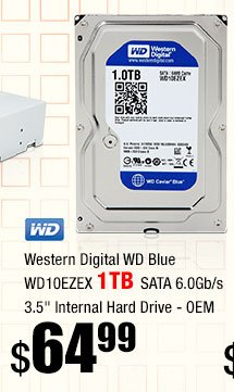 "Western Digital WD Blue WD10EZEX 1TB SATA 6.0Gb/s 3.5"" Internal Hard Drive - OEM"