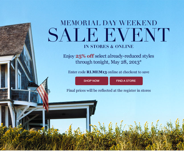 Memorial Day Weekend Sale Event