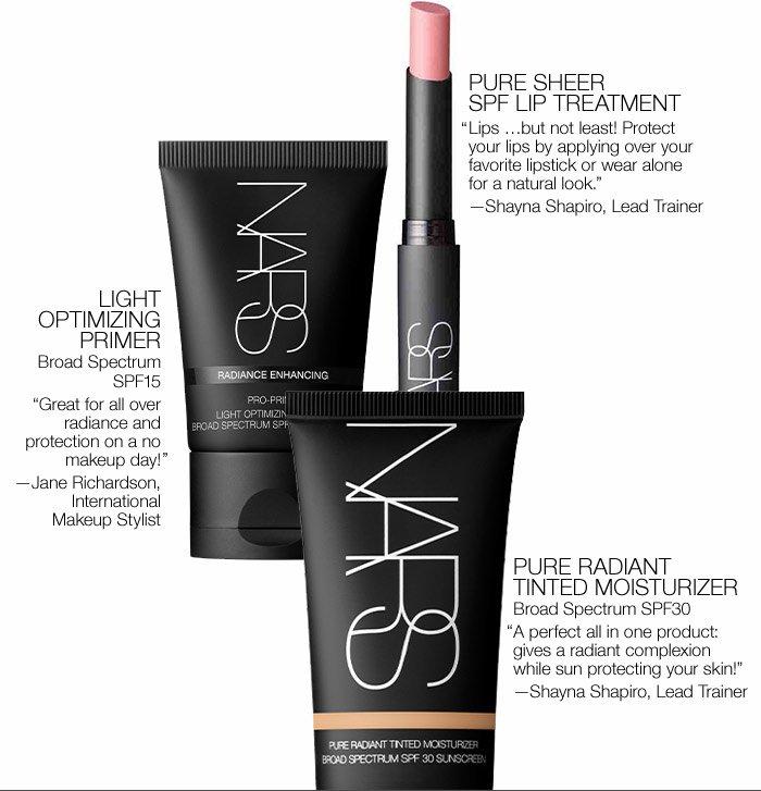 Pure Sheer SPF Lip Treatment, Light Optimizing Primer and Pure Radiant Tinted Moisturizer.
