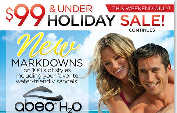 Find NEW markdowns on 100's of great styles during our $99 & Under Holiday Weekend Sale. Shop your favorite ABEO H2O water-friendly sandals, and great styles from Dansko, ECCO, Raffini, Taos and more and save! Plus, enjoy FREE 2nd Day Shipping on the 'Huntington' and 'Davenport' from ABEO B.I.O.system.* Shop now at The Walking Company.