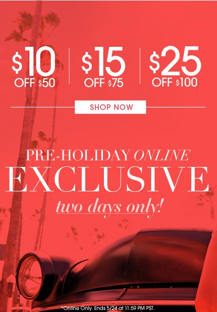 Shop Online Exclusive Holiday Sale