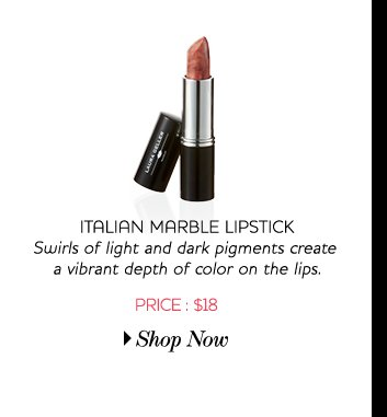 Italian Marble Lipstick - Swirls of light and dark pigments create a vibrant depth of color on the lips - Price: $18