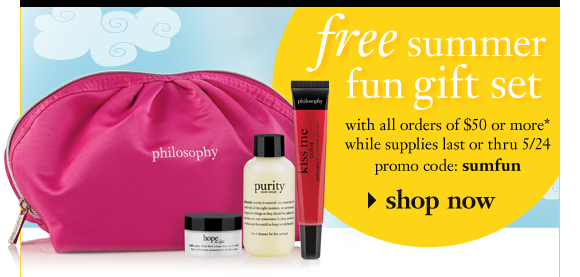 free summer fun gift set with all orders of $50 or more while supplies last or thru 5/24 promo code: sumfun