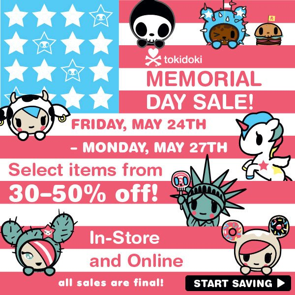 2013 tokidoki huge Memorial Day Sale