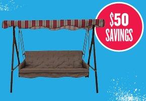 Garden Treasures 3-Seat Steel Hammock Swing