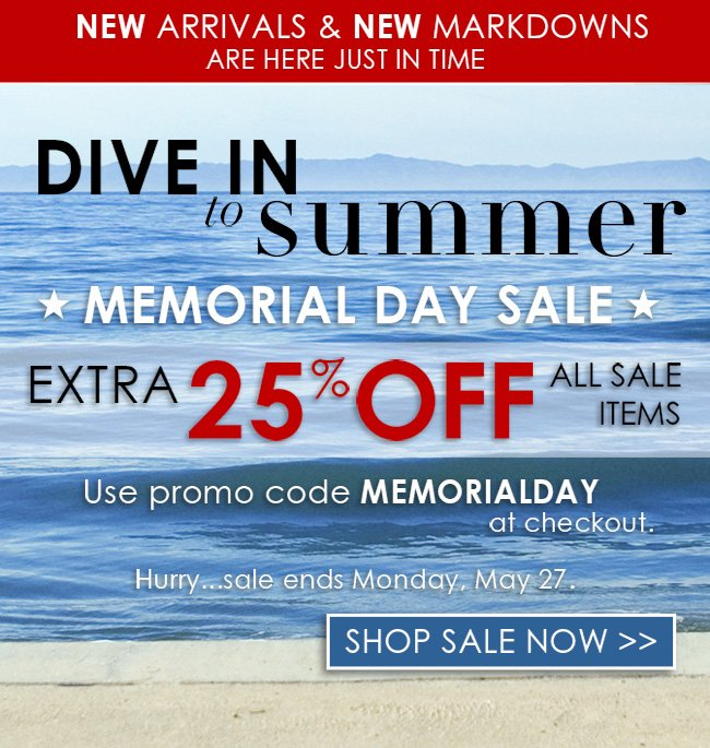 Memorial Day Sale - 25% Off Sale Items
