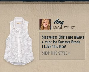 Sleeveless Shirts are always a must for Summer Break. I LOVE this lace! SHOP THIS STYLE