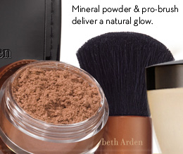 Mineral powder & pro-brush deliver a natural glow.