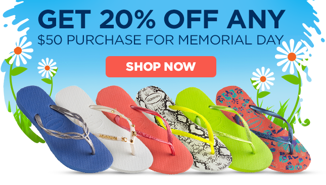 Get 20% off any $50 purchase for Memorial Day