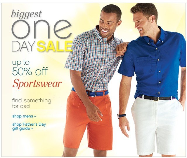 Biggest One Day Sale. Up to 50% off sportswear.