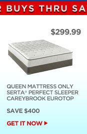 $299.99 - QUEEN MATTRESS ONLY SERTA PERFECT SLEEPER CAREYBROOK EUROTOP - SAVE $400 | GET IT NOW