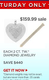 $159.99 sale - EACH 2 CT. TW.* DIAMOND JEWELRY - SAVE $440 | GET IT NOW