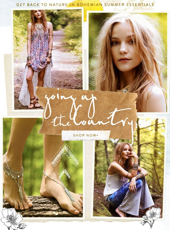 Going Up the Country: Get back to nature in bohemian summer essentials! Shop the trend...