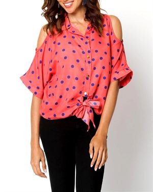 Mix Noveau Printed Shoulder Cut-Out Blouse