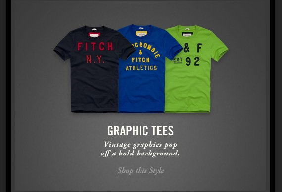 GRAPHIC TEES     Vintage graphics pop     off a bold background.          Shop this Style