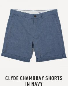 Clyde Chambray Shorts In Navy