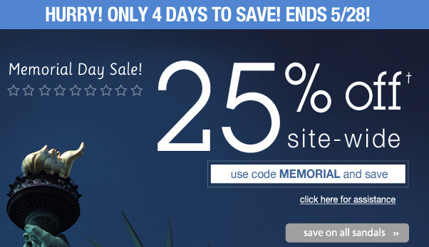 25% Off - Memorial Day Savings!