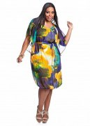 Tropical Ruffle Front Empire Dress