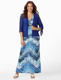 Catherines Plus Size Waterfall Maxi with Jacket - Women's Size 1X,2X,3X,0X, Galaxy Blue