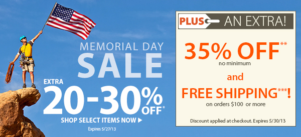 Memorial Day Sale! An Extra 20-30% OFF Select Items! PLUS FREE Shipping on orders $100+ & An Extra 35% OFF!