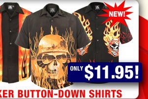 NEW Biker Button-Down Shirts! Only $11.95!