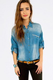 PERFECT DENIM BUTTON UP SHIRT 35