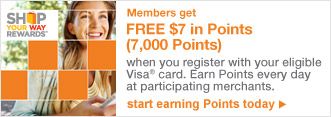 Members get FREE $7 in Points (7,000 Points) when you register with your eligible Visa(R) card. | start earning Points today