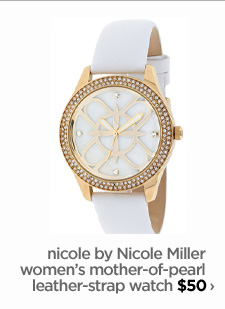 nicole by Nicole Miller women's mother-of-pearl leather-strap watch $50 ›