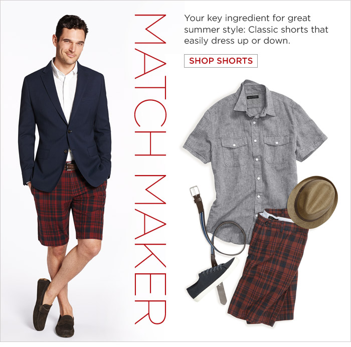 MATCH MAKER | Your key ingredient for great summer style: Classic shorts that easily dress up or down.  SHOP SHORTS