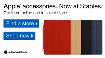 Apple  accessories, now at Staples.* Get them online and in select stores.  Apple Authorized Reseller. Find a store. Shop now.