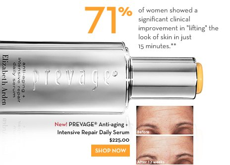 "71% of women showed a significant clinical improvement in ""lifting"" the  look of skin in just 15 minutes.** New! PREVAGE® Anti-aging + Intensive Repair Daily Serum $225.00. SHOP NOW. Photos taken after 12 weeks of using PREVAGE® Anti-aging + Intensive Repair Daily Serum. Results may vary."