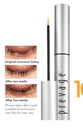 100% of women in a clinical study showed an improvement in their lashes in just 2 weeks.* New! PREVAGE® Clinical Lash + Brow Enhancing Serum $98.00. SHOP  NOW. Photos taken after 2 and 4 weeks of continuous use. Results may vary.